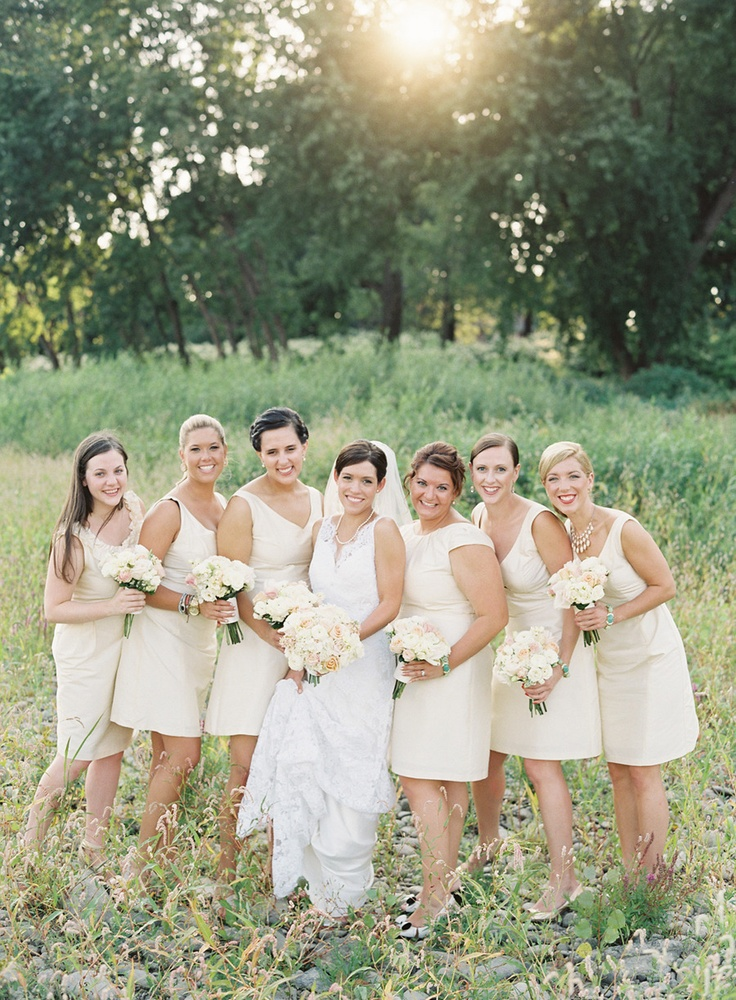 Bridesmaids looking lovely in LulaKate Photography by Bryce Covey Photography / brycecoveyphotography.com: Dresses Bridesmaid, Bridesmaid Dresses2, White Bridesmaid, Bands Pictures, Floral Design, Covey Photography, Cream Bridesmaid Dresses, The Dresses, Bridesmaid Colour