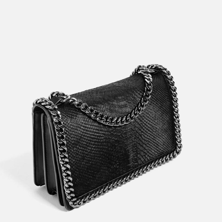 Crossbody Bag With Embossed Chain Evening Woman Zara