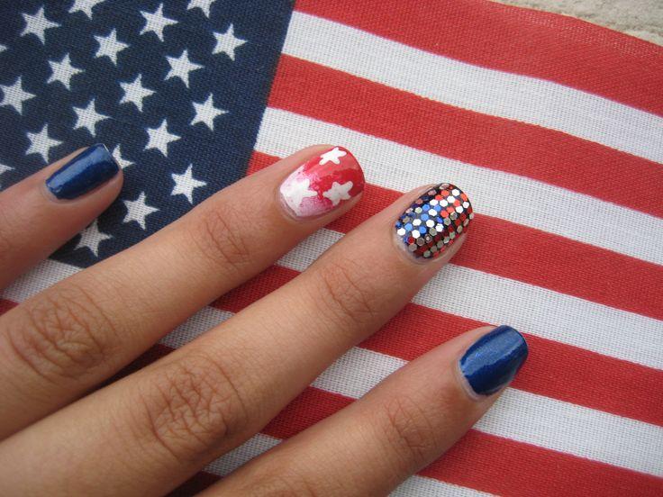 4th of July nail art! :D