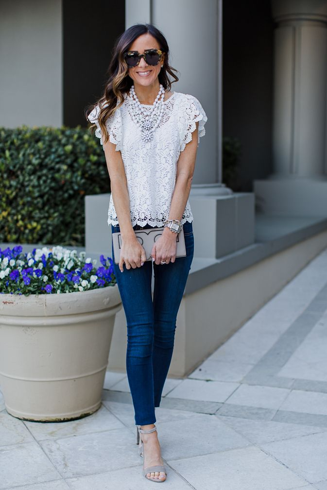 So cute! Love the lace top with grey accessories.