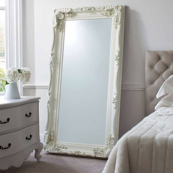 Carved Louis Leaner Silver Mirror 176 x 90cm This rectangular mirror features a heavily carved solid wood frame in an antique cream finish; the mirror itself is made of bevelled glass. Description from ebay.co.uk. I searched for this on bing.com/images