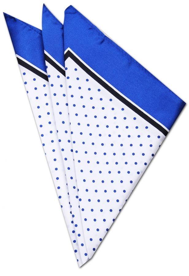 Mavi - Beyaz Kravat Mendili KM0228 - Blue and White Pocket Square
