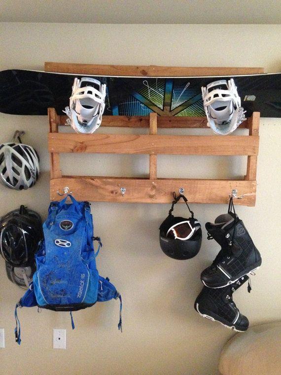 Snowboard & Equipment Shelf/Hanger by UnderTheSandpaper on Etsy, $65.00