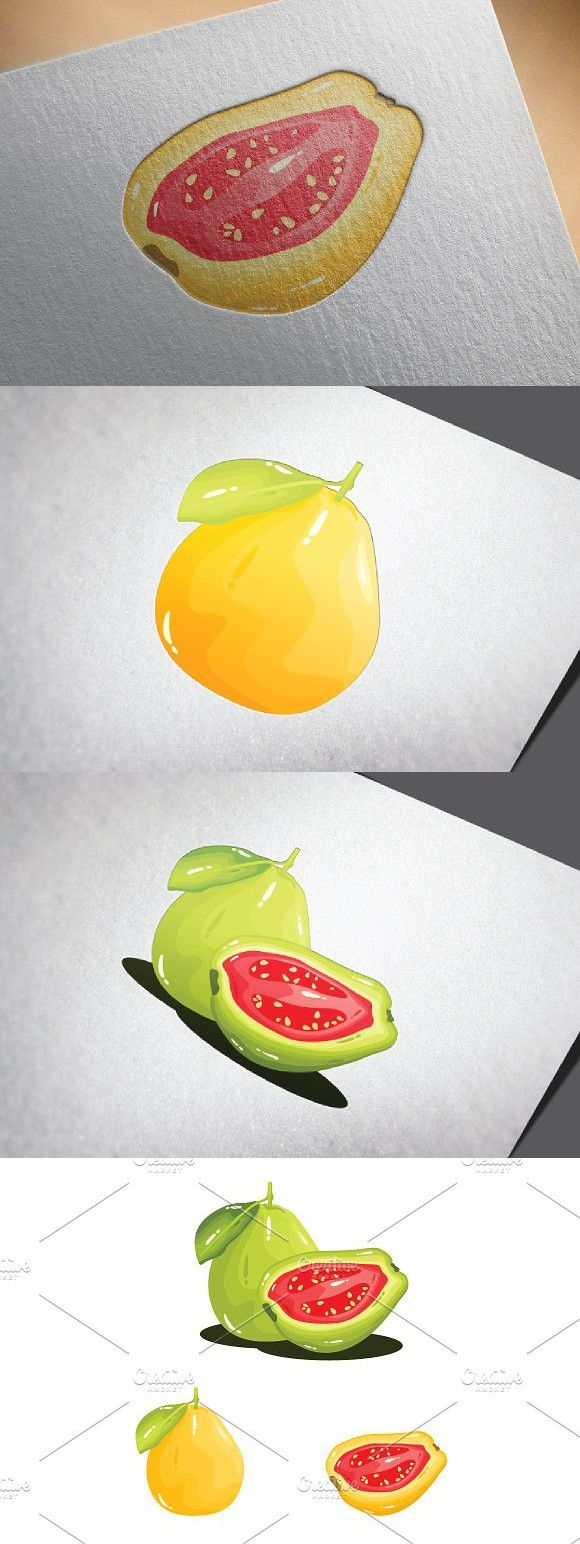 Guava Fruit Realistic Vector. Delicious