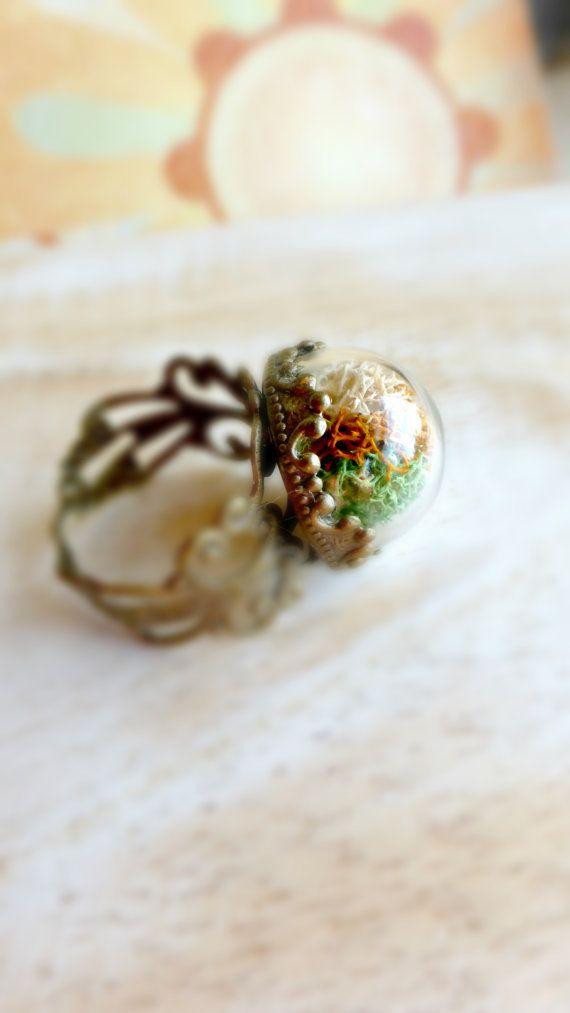 Mini terrario terrario Moss anello regalo di di FlowerGiftByNature
