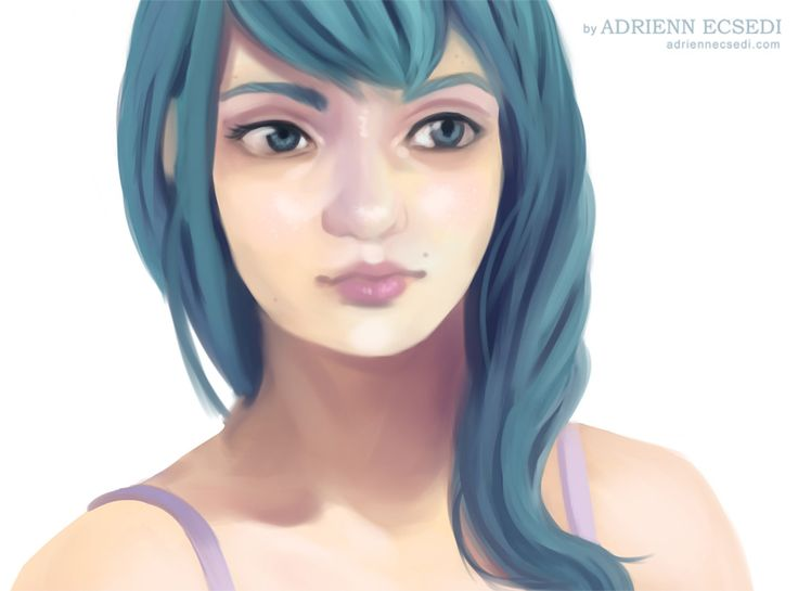 A work in progress shot of the new anime girl portrait I am working on.