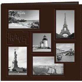 Pioneer 12-Inch by 12-Inch Collage Frame Embossed `Travel` Sewn Leatherette Cover Memory Book, Brown