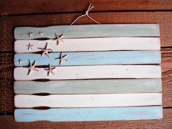 Weathered Paint Stick Beach Flag by CraftsbyAmanda.com @amandaformaro