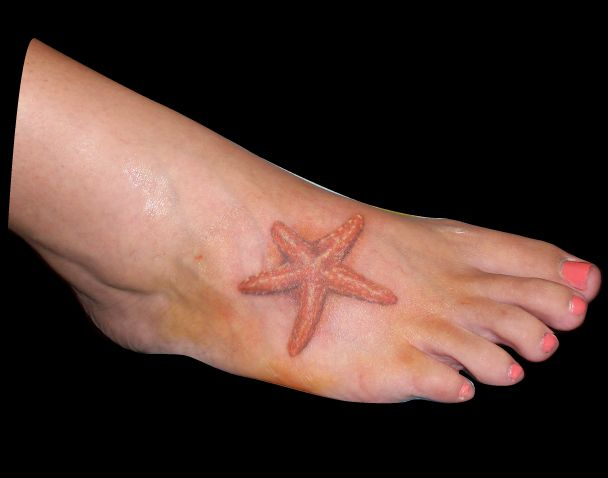 Starfish Tattoo-Working on my foot tattoo with sand dollars and waves?