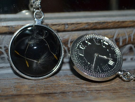 Midnight Wishes: Real Dandelion Seed Resin pendant on a silver clock setting - Childhood Memories