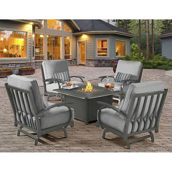 madison 5 piece chat set with fire pit garden and woods costco rh pinterest ca