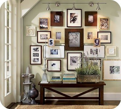 lighting and picture display: Photo Collage, Decor Ideas, Galleries Wall, Photo Wall, Frames Collage, Frames Wall, Pictures Frames, Pottery Barns, Pictures Wall