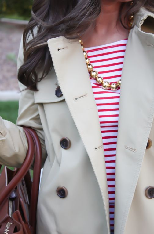 Trench Coat, Red Striped Tee, Dark Wash Skinny Jeans, Patent Red Flats, Brown Tote, J.Crew, Tory Burch, Celine Luggage 15