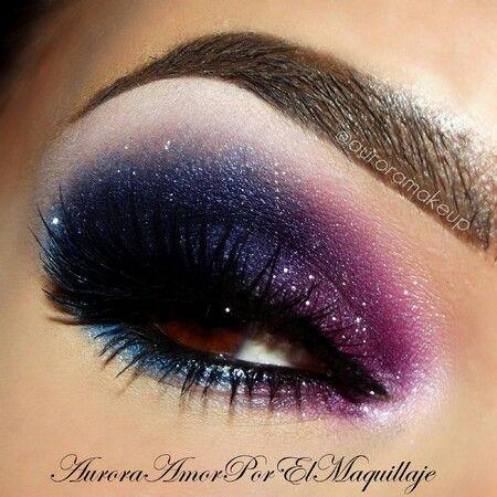 galaxy makeup purple blue black shimmer eyeshadows  makeup