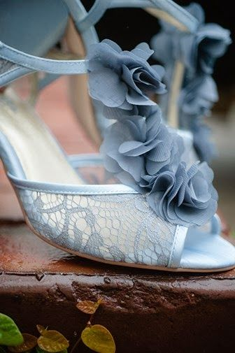 A beautiful something blue — lacy and floral bridal shoes