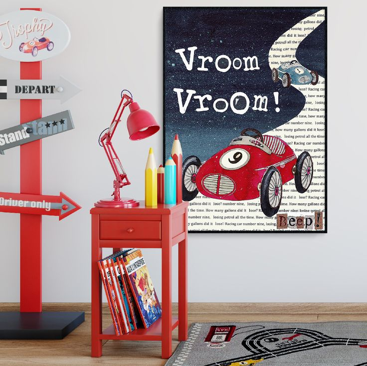A wheelie cool retro inspired for little car lovers. Avalailable in sizes A4 - poster size A1.