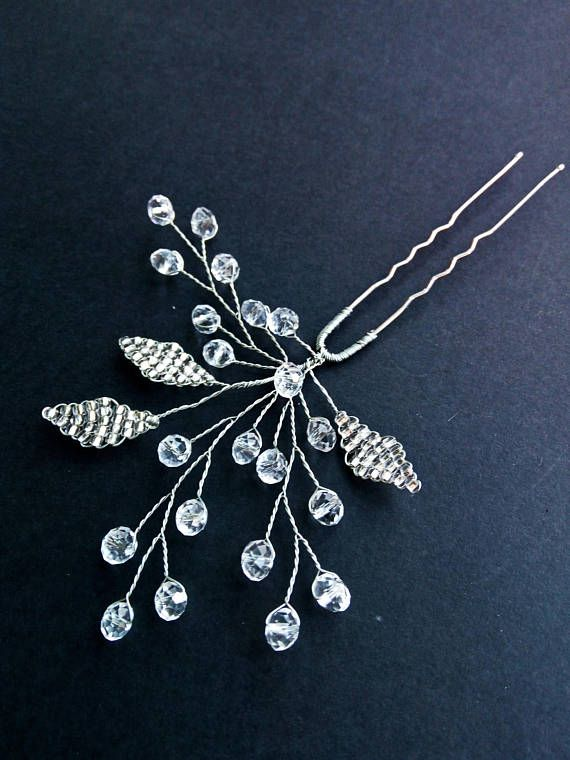 Lea Crystal hairpins Bridal hair pin Wedding u-pins Leaf bobby