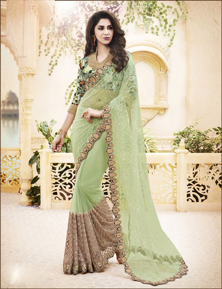 Green Net Party Wear Saree 61872