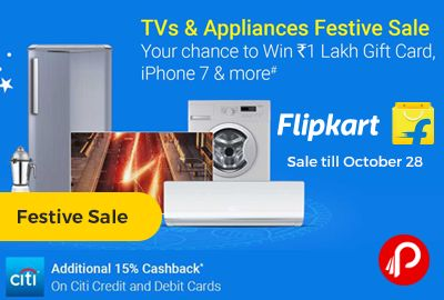 Flipkart is offering TVs LED and #AppliancesFestiveSale till October 28. Chance to win Rs.100000 Gift Card and iPhone 7 & more. Additional 15% Cashback on Citi Bank and Debit Cards.  http://www.paisebachaoindia.com/tvs-led-and-appliances-festive-sale-till-october-28-flipkart/