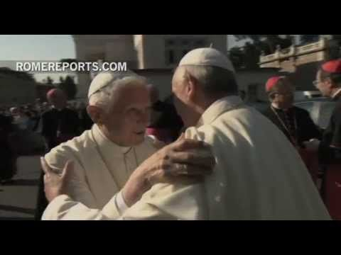 Pope Emeritus Benedict XVI and Pope Francis meet in the Vatican Gardens  for the unveiling of a new statue representing St. Michael Archangel, the universal protector of the Church and patron of Vatican City.