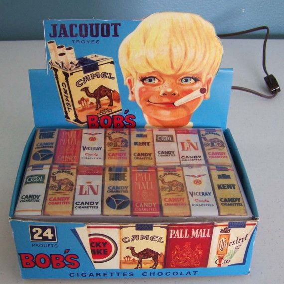 Bobs Chocolate Candy Cigarette Box lamp  French by CreativePal, $85.00    It's hard to believe now-- that we ever ate candy cigarettes!  Talk about marketing genius from cig companies!