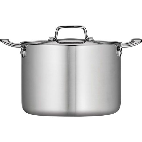 This Tri-Ply Clad Stock Pot with Lid made by Tramontina is a high-end, versatile and durable item that complements any kitchen. It's ideal for cooking pasta, preparing soup stock or simmering chili. Tri-ply clad vessel construction provides optimal heat diffusion and superior performance. The 18/10 stainless steel construction ensures durability and makes this high quality Tramontina Stock Pot a top choice for cooking among many master chefs. : walmart