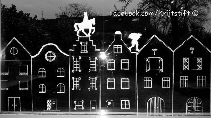 Sinterklaas kapoentje. Leuk om je raam te decoreren met krijtstift krijtstiften raamtekening sint en piet  sneeuw kerst donkere dagen     geveltjes huisjes grachtenpanden Kreidemarker fenster