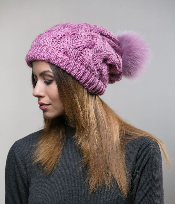 Fur Bobble Hat     #purple #woolen #beanie  #real #pompom #hat #heandband #haute #style #accessories #fashion