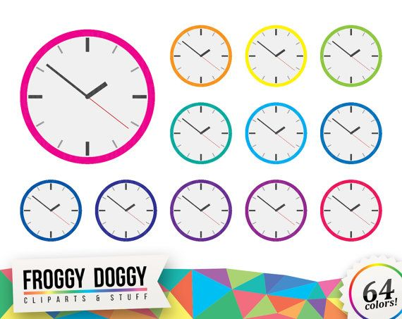 Clock Clipart, Analog Clock Clipart, Time Clipart, Schedule Clipart, Planner Clipart, Scrapbooking Cliparts