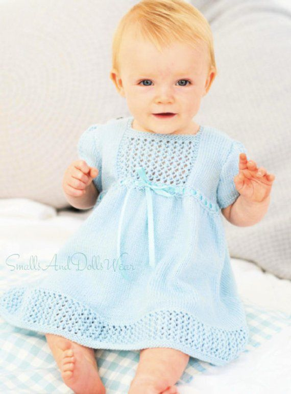 860b369eb6133 Offering a vintage PDF knitting pattern to make a precious baby girl dress  with eyelet stitch