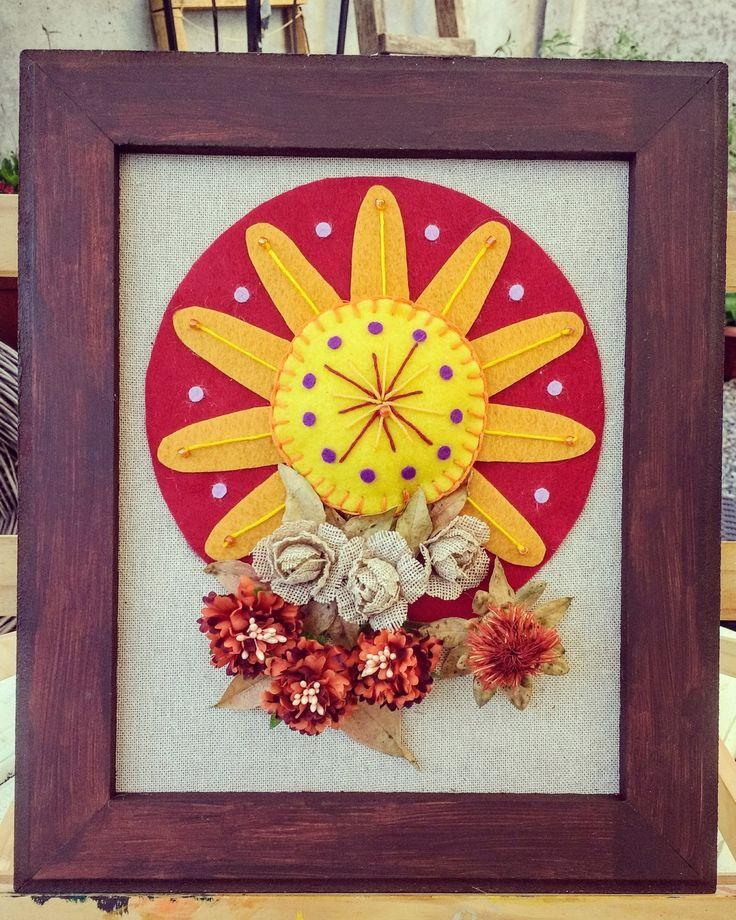Mi sol!! Diseño Chicoca Deco.   #sol #fieltro #bordado #arpillera #crea #flores #cuadros #hechoamano