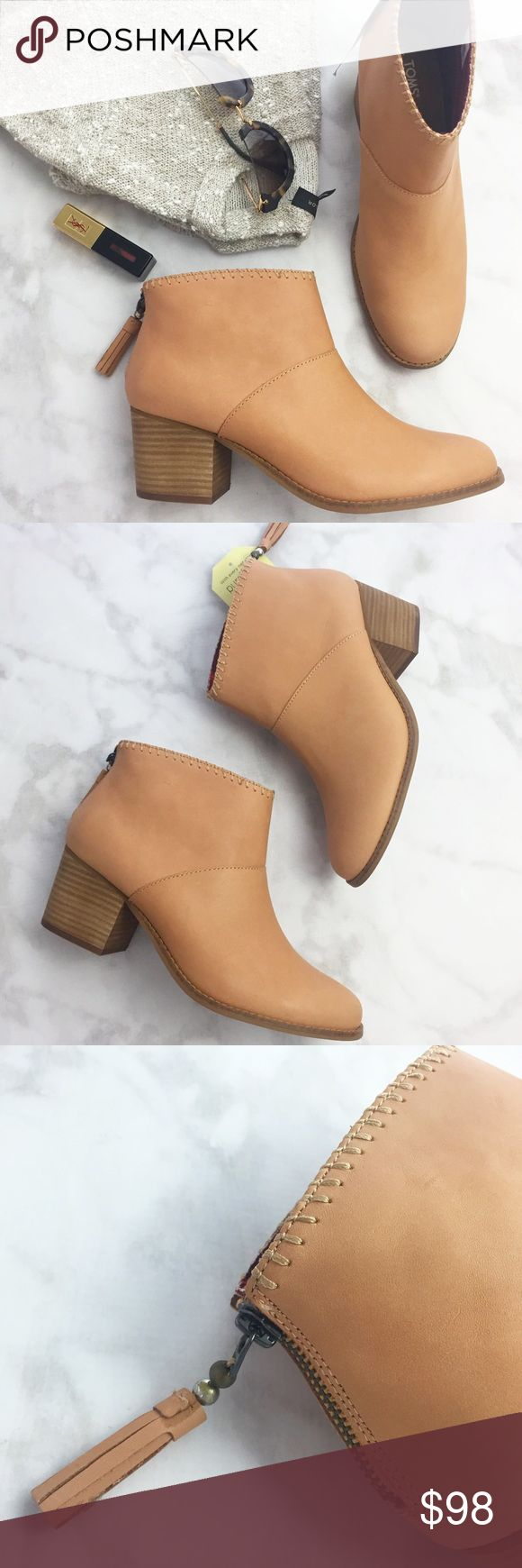 "TOMS Tan Leather Ankle Boots Details: * Sizes 8.5 & 9 * Tan leather * Whipstitch detailing * Back zip with tassel zipper pull * 2.5"" heel * Brand new in box 12131602 TOMS Shoes Ankle Boots & Booties"