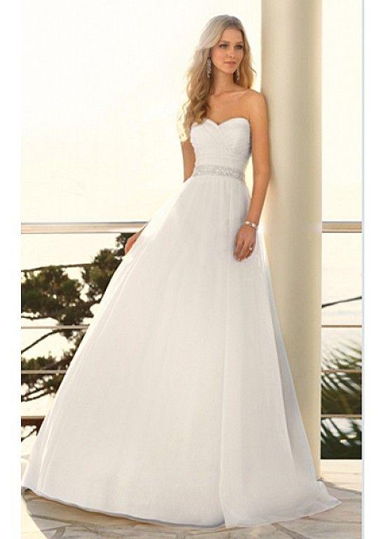 Elegant Chiffon A-line Sweetheart Wedding Dress For Your Beach Wedding W2440