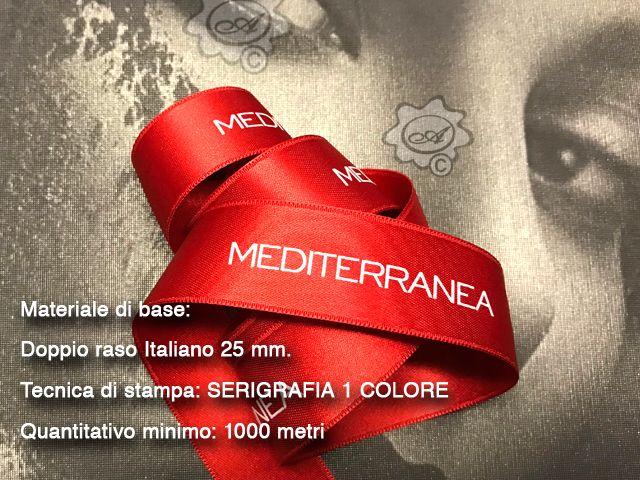 Nastro in doppio raso personalizzato con stampa in serigrafia a rilievo. satin ribbons, flat printed ribbons