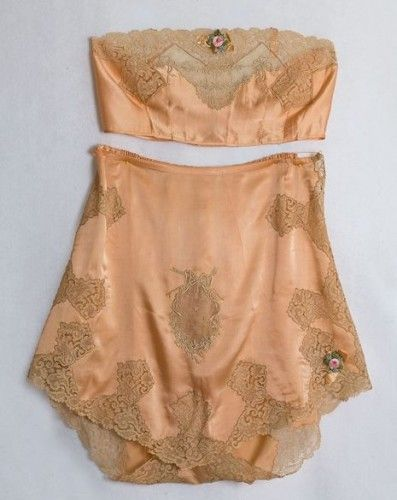 Peach silk charmeuse lingerie set (brassiere and tap pants) with lace appliqués and trim, by Boué Soeurs, French, 1920's