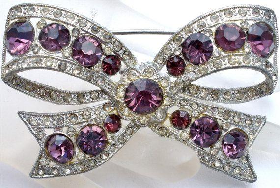 Antique Purple Rhinestone Bow Brooch by TheJewelryLadysStore, $62.00