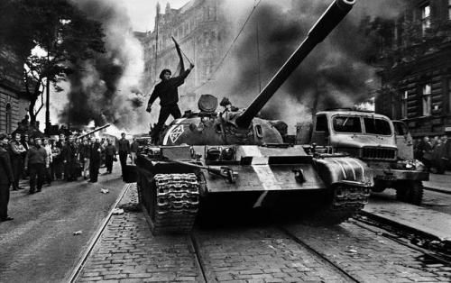 Warsaw Pact tanks invade Prague, Czechoslovakia, August 1968.