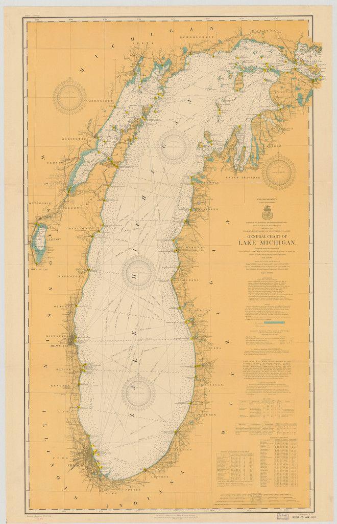 Lake Michigan Historical Map - 1909