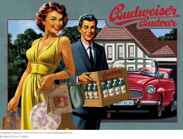 Illustrator Stefano Riboli  Promotion  2012 // The 1950ies : Budweiser Budvar : metal plates