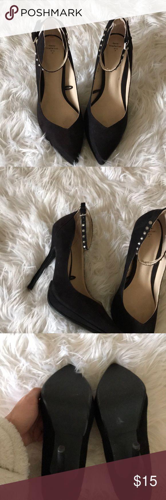 Zara suede studded ankle tie heels Zara suede pointed toe heels! Has studded ankle straps, size 37 UK or 7 US, great heel height, NEVER WORN (my feet were too wide) Zara Shoes Heels
