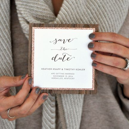 Save the Date | Check out this #luxepress Save the Date that combines walnut wood and rose gold #glitter, perfect for a rustic glam #wedding!