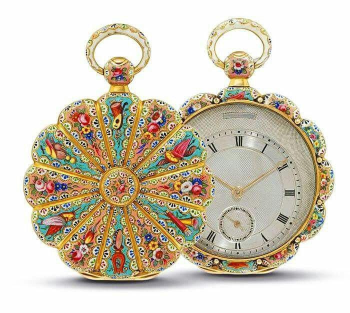 Gold and enamel pocket watch Switzerland 1840 via Musetouch Visual Arts magazine on FB