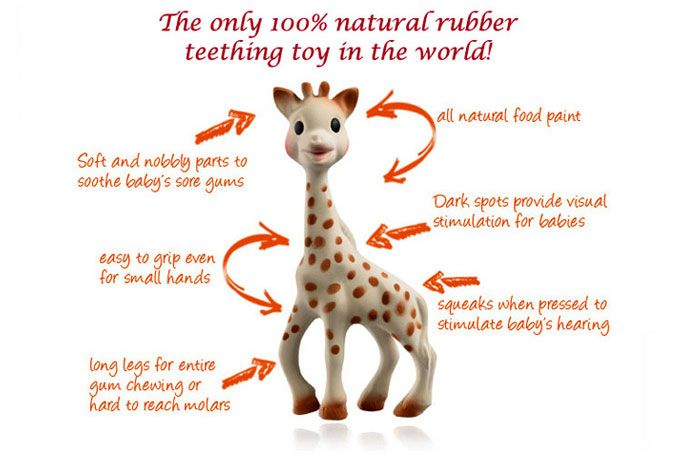 Sophie the Giraffe--Supposedly these are God's gift to teething babies. On Amazon you can get a 2 pack. We registered for them!