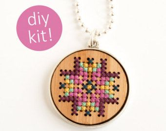 DIY Cross Stitch Jewelry // Embroidered Wood Necklace in Silver Frame // DIY Kit