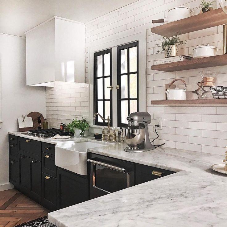 Open shelving.   Black appliances kitchen, Home kitchens ...