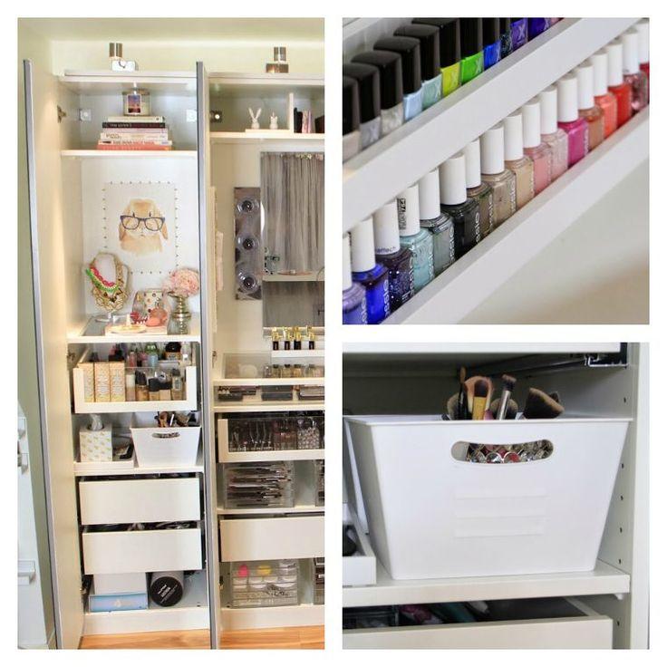 idées pour organisation et rangement de maquillage avec boîte plastique
