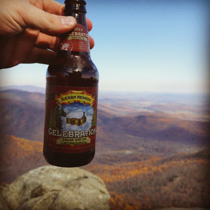 """A fitting """"celebratory"""" beer atop Old Rag Mountain in Shenandoah National Park"""