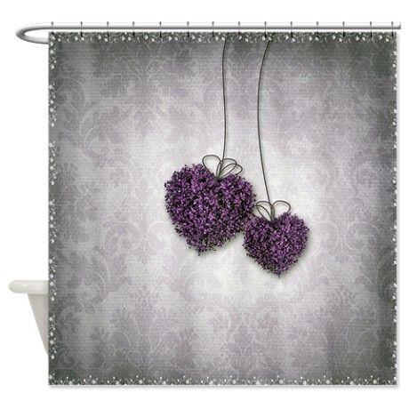 Purple Hearts Shower Curtain on CafePress.com