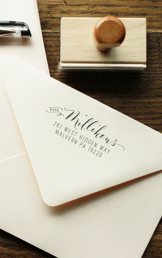 how to return address wedding envelopes%0A Handwritten Calligraphy Return Address Stamp  Mixed Calligraphy and type  Custom Stamp  Chic Mod  rne Style  Wood or Self ink address stamp