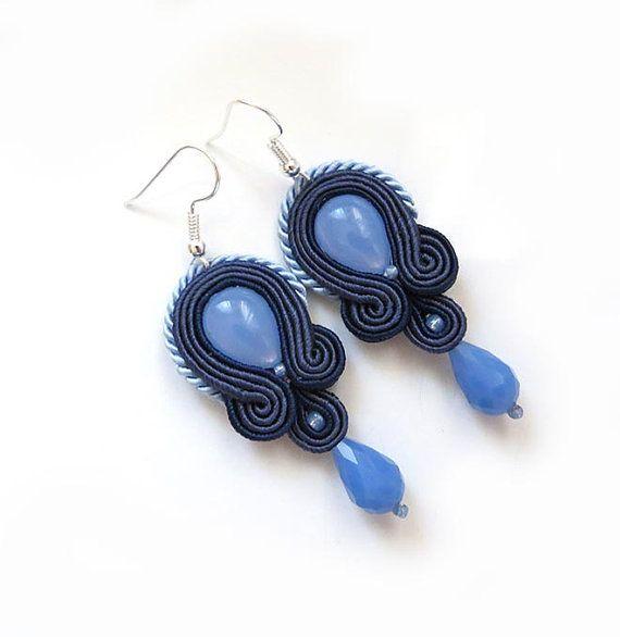 Navy Blue Earrings Serenity earrings soutache by sutaszula